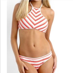 Seafolly • Orange White Chevron Bikini Swimsuit